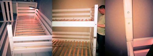 Beide Flexa Einzelbetten aufeinandersetzen, verschrauben und Leiter und vordere Absturzsicherung anbringen
