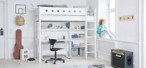 FLEXA-Classic-Hochbett Systembett Schreibtisch Stuhl Regal