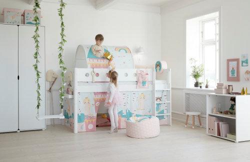 Kinderzimmer Mädchen rosa Hochbett Flexa